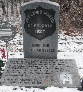 Pvt. Lewis Martin's gravestone, Oak Ridge Cemetery (SCHS)