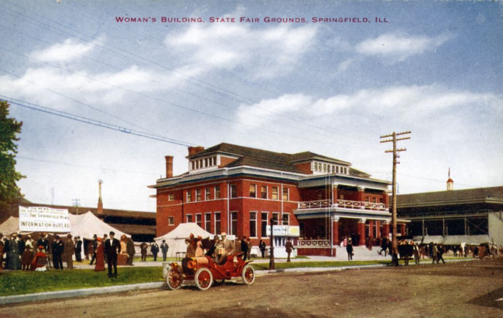 The Illinois State Fairgrounds Woman's Building (also known as the Administration Building) was converted to an emergency influenza hospital. (Courtesy Tom Fitch)