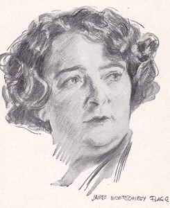 "Nellie Revell, illustration by James Montgomery Flagg for ""Right Off the Chest"" (Courtesy Barbara Humphrey)"