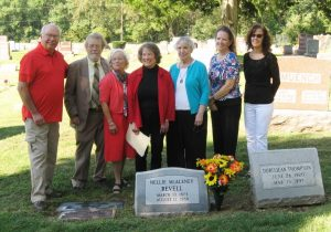 From left, Tom Humphrey, Art Hurme, Sally Hurme, Barbara Humphrey and cousins Nancy MacAleney, Kathleen Spencer and Erin Ruesing at the dedication of Revell's gravestone, Oct. 5, 2016. (SCHS)