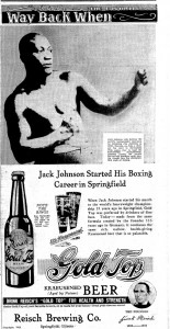 Reisch Brewing Co. ad in May 19, 1937, Illinois State Journal featured Johnson (SJ-R)