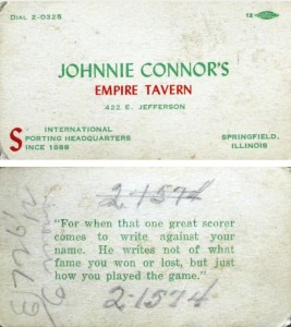 Front and reverse of Connors' business card, ca. early 1940s (Rob Paul)