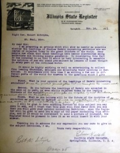 Kneale's form letter, with answers from St. Paul, Minn., Methodist Bishop Albert McIntyre. (Courtesy Robb Paul, Prairie Archives)