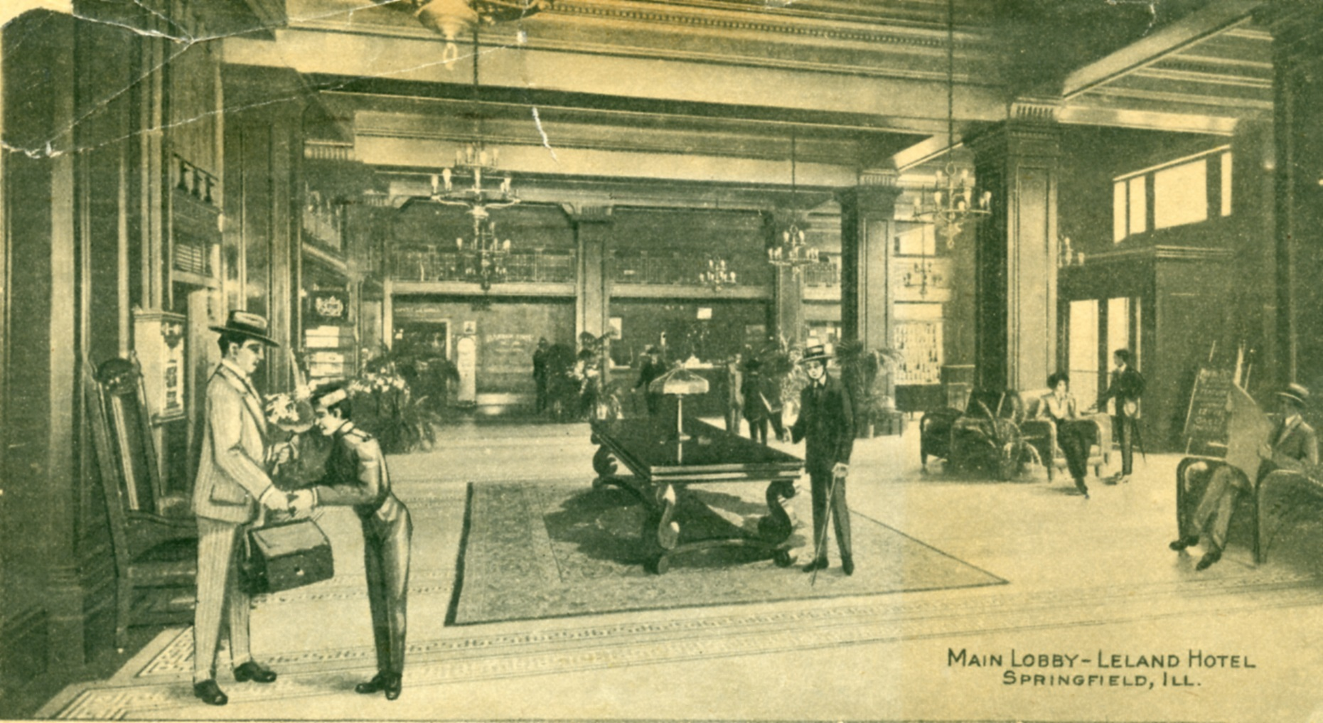 The Leland's lobby sometime after the new building opened in 1911 (Sangamon Valley Collection)