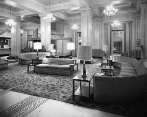 The Leland Hotel lobby in later years (SVC)