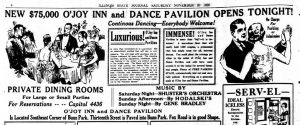 Portion of O'Joy Inn grand opening ad, 1926 (SJR)