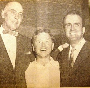 Harold Henderson, left, and Hugo Giovagnoli, owners of the Lake Club, with Mickey Rooney, 1953 (SVC)