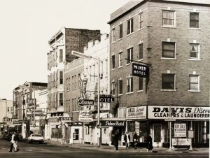 The Palmer Hotel and the north side of the 400 block of East Jefferson Street in 1969