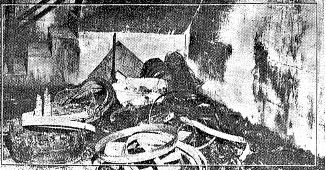 Damage under a stairway leading to the Springfield High School boiler room following the explosions (SJ-R)