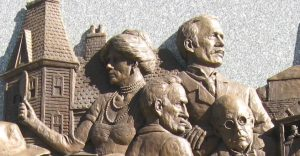 Top center, mine manager ? Lukens, shown on the Battle of Virden monument.