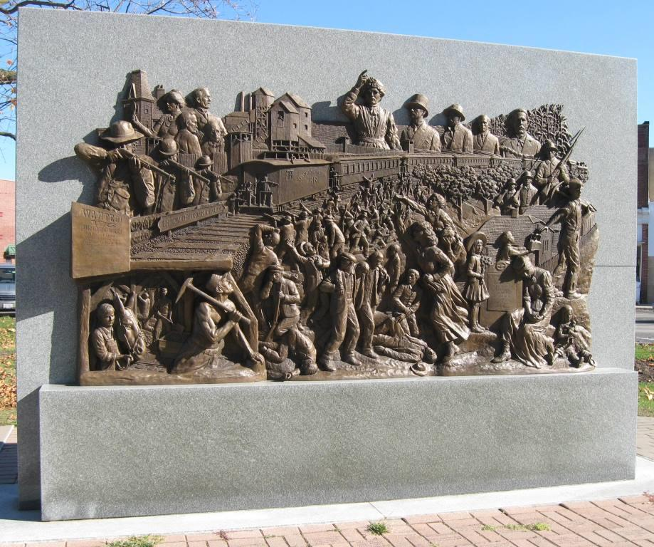 Battle of Virden Monument, created by ?? and erected on the Virden square in 2006 (SCHS photo)
