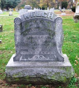 Edward Welch tombstone, Calvary Cemetery, Springfield (SCHS photo)
