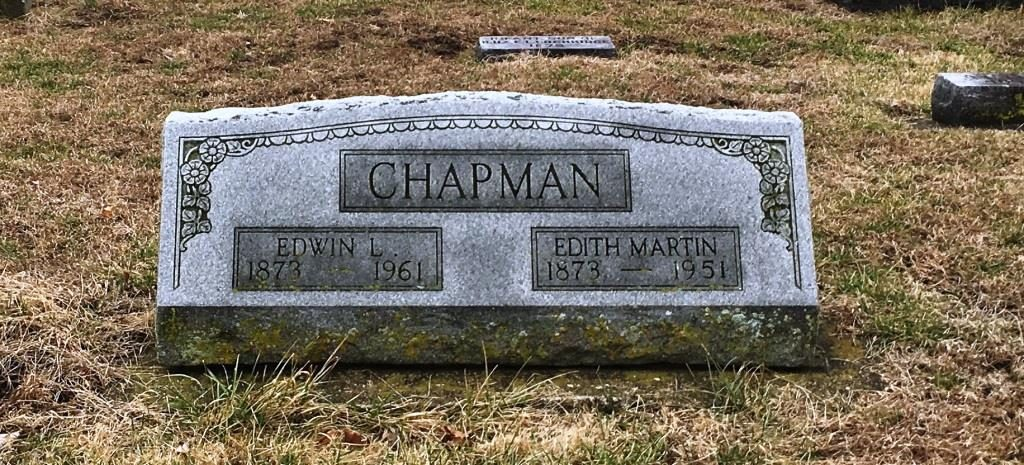 The graves of Edith Martin Chapman and her husband, Edwin, in Auburn Cemetery (SCHS photo)
