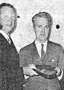 George Hoffman, right, receives First Citizen award from newspaper publisher John P. Clarke (courtesy SJR)