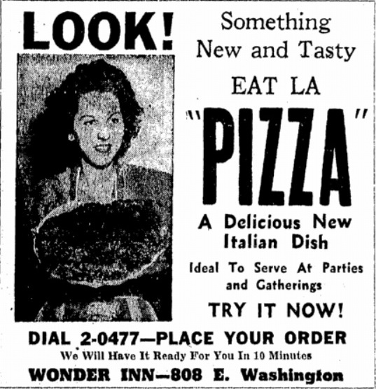 A model shows what a Wonder Inn pizza looks like, 1947 (Courtesy State Journal-Register)