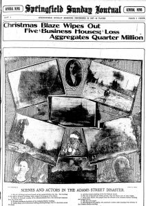 The Springfield Sunday Journal's front page the day after Johnston-Hatcher's 1907 fire. Note the smoking Santa in the center of the collage (Courtesy State Journal-Register)