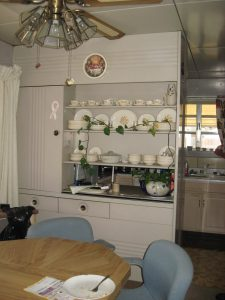 Pass-through steel shelving and cabinet in Bryan Weinhoeft's Lustron home. (SCHS)