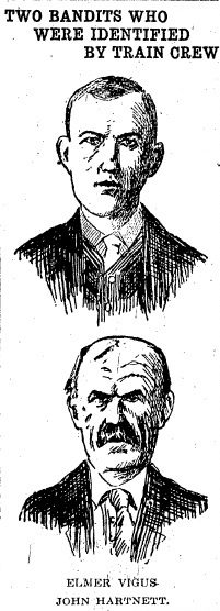 Elmer Vigas (last name misspelled), top, and John Hartnett following their arrest for the train robbery. The drawings probably were done by Alfred Harkness, a remarkable illustrator who worked in Springfield at the time (courtesy SJR)
