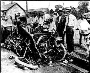 The Withrow car, which Arthur Withrow had bought only two wees earlier, following the collision (SJR)