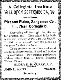 Advertisement from 1899 edition of The Messenger of Peace, a publication of the Primitive Baptist Church (Primitive Baptist Library)