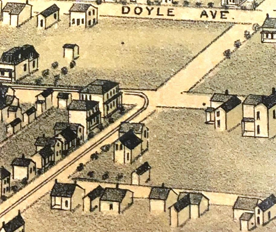 Walnut Street runs left to right in this image from an 1873 birds-eye map of Springfield. A street car line runs west on Monroe and turns south on Walnut. The rink, demolished by a windstorm a year earlier, presumably was on the vacant lot between Walnut and Doyle (now Glenwood) Avenue. Original map can be seen at Lincoln Library's Sangamon Valley Collection. (SCHS photo)