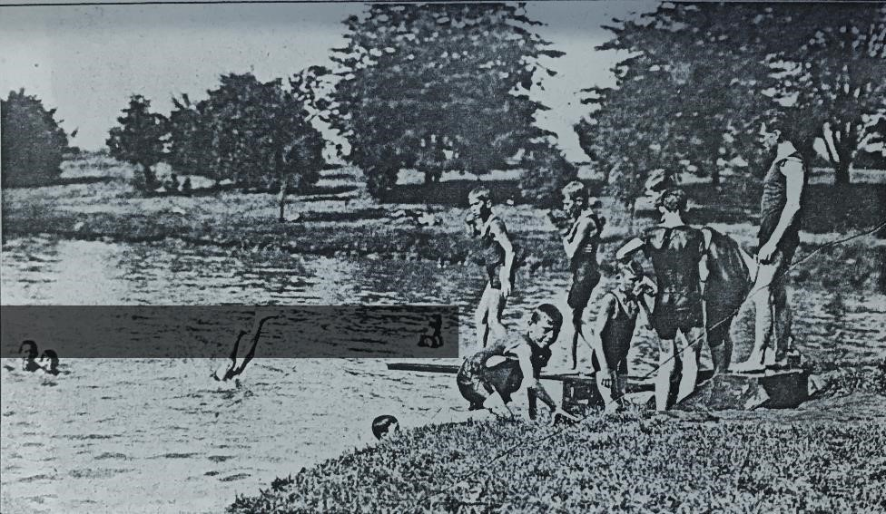 Boys at the former swimming hole in the northwest corner of Lincoln Park (Springfield Park District annual report, 1912)