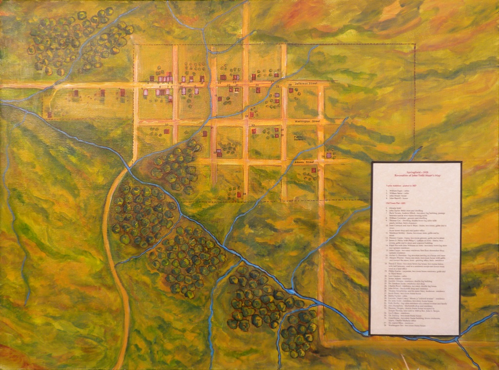 This map, reconstructed from descriptions of early Springfield given by John T. Stuart and others, shows the Town Branch and its tributaries as they were in about 1828. (Courtesy Elijah Iles House)
