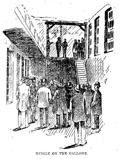 "This unattributed drawing was labeled ""Mingle on the gallows"" in the Illinois State Register's extra edition of Feb. 11, 1898. The artist or artists drew a half-dozen other depictions of people and places connected to the case. See below for some others (State Journal-Register; published with permission)"