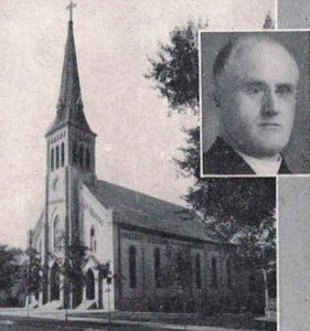 Rev. Patrick O'Reilly (inset) and St. Joseph Parish's church in 1928 (Diamond Jubilee History)