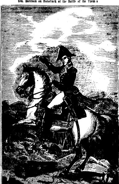 William Henry Harrison at the Battle of the Thames (during the War of 1812); illustration published in the May 22, 1840, Sangamo Journal (CourtesyState journal-Register)