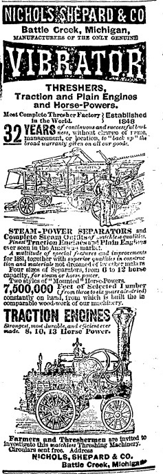 A Michigan manufacturer advertised threshers and traction engines in Springfield newspapers in 1881