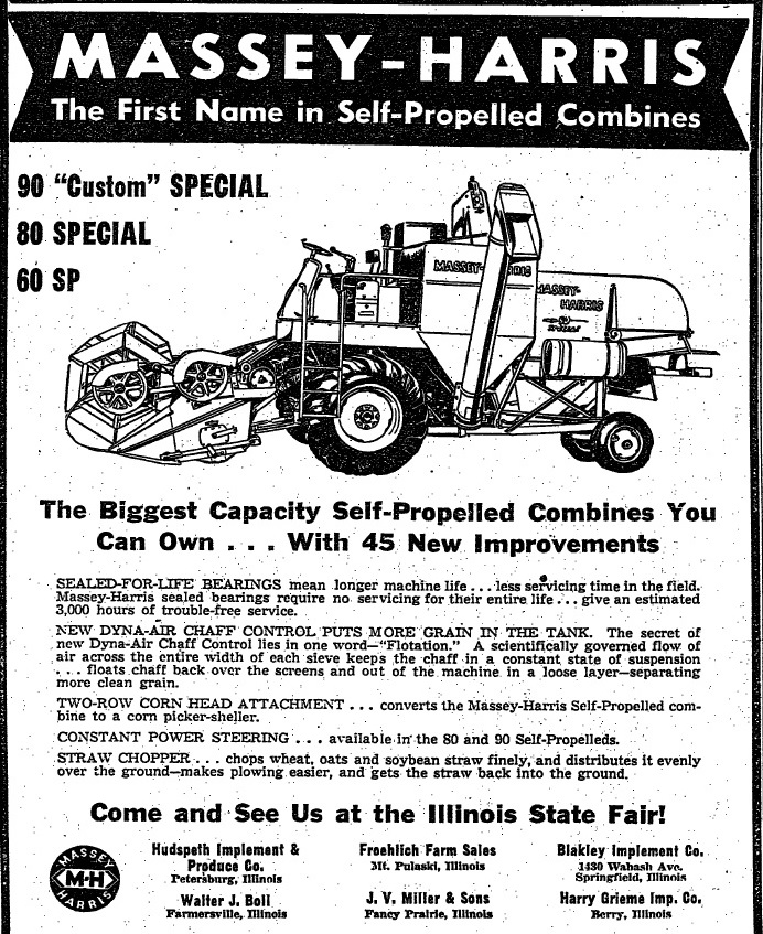 Massey-Harris shows its self-propelled combine at the 1955 Illinois State Fair