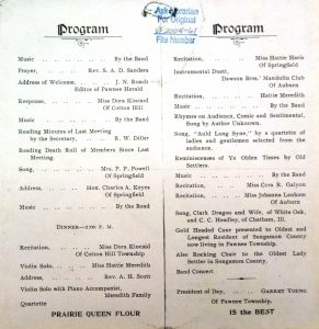Program for the 1900 reunion (Sangamon Valley Collection)