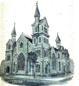 First Methodist Church shortly after construction in 1884-85. Architect George Helmle designed the church at no cost. The building was demolished in the 1970s.