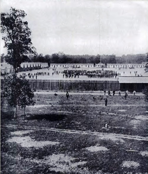 Camp Butler in action (this and the second period photo below are from Photographic History of the Civil War in Ten Volumes, 1911. However, captions on both photos say U.S. Grant did part of his Springfield service at Camp Butler. That's incorrect. Grant and his regiment marched out of Camp Yates on July 3, 1861, a month before Camp Butler opened.