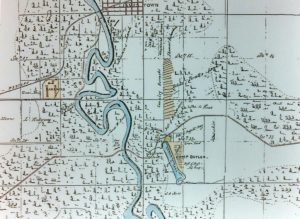 Contemporary map shows Camp Butler in relation to Jamestown (Riverton) (Sangamon Valley Collection)
