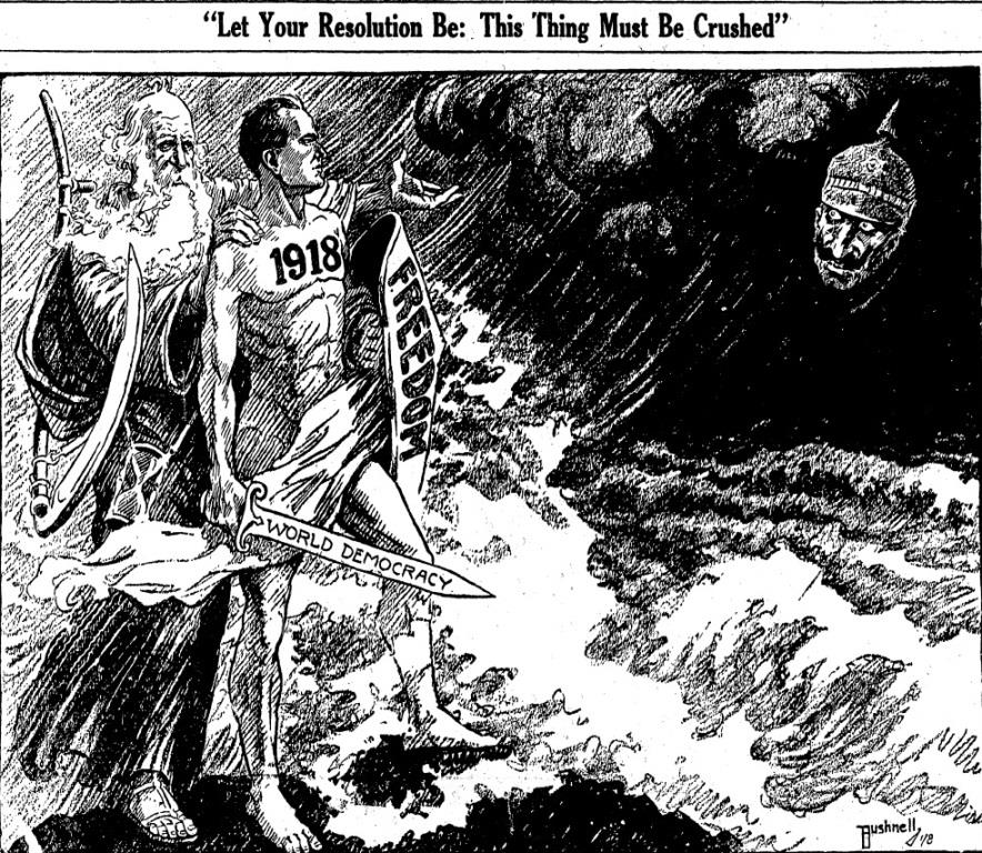 World War I was the big story in Springfield newspapers on Jan. 1, 1918. This five-column drawing dominated the front page of the Illinois State Register. (Courtesy State Journal-Register)