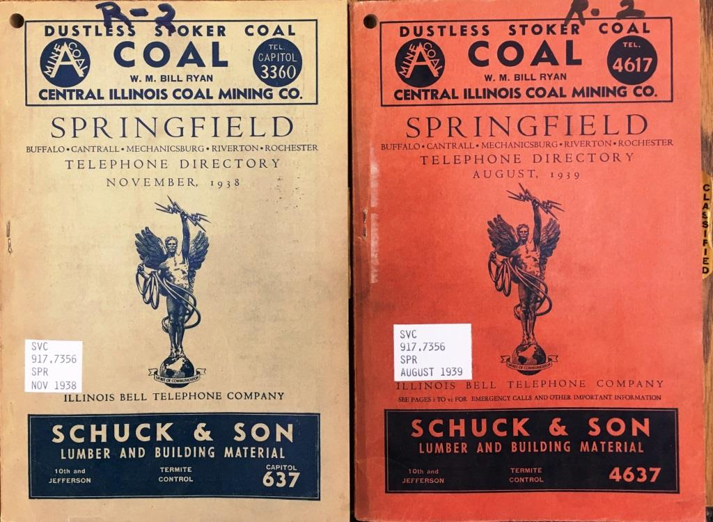 Illinois Bell's first 1939 telephone book, left; book with dial phone numbers, right. Note difference in numbers for Central Illinois Coal Co., top, and Schuck &Son, bottom (Sangamon Valley Collection)