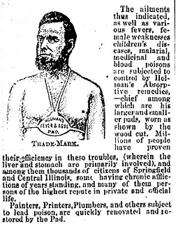 Part of an ad for Holman's Fever and Ague Pad, 1879 (Courtesy State Journal-Register)