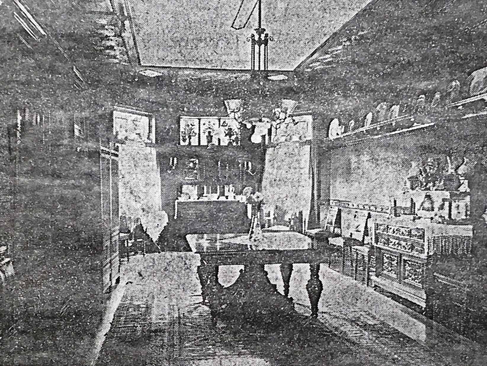 "The dining room of the Tracy house, taken from a newspaper clipping, totled ""the in the Sangamon Valley Collection. The clipping is titled ""The Family Album."" The clipping is unidentified, but the photo probably was published in the Illinois State Register sometime before the death of Louise Tracy Lester in 1954. , but theed in the July"