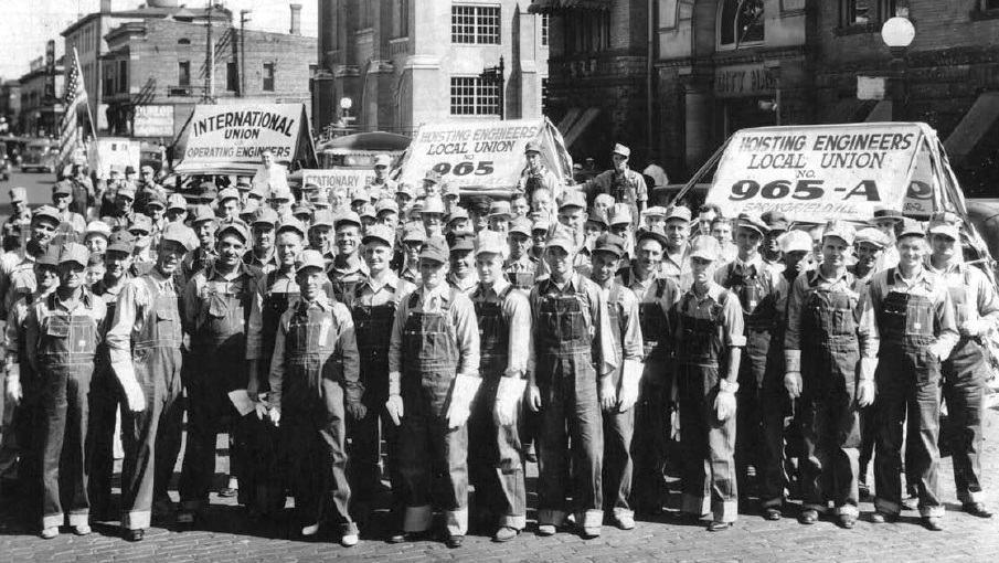 Members of Local 965 of the International Union of Operating Engineers, ready for Springfield's Labor Day parade in 1936. (Copyright IUOE Local 965; used with permission)