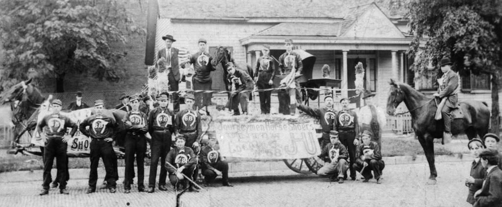 Horseshoers Union Local 68, ready for a parade in the 1890s (Sangamon Valley Collection)
