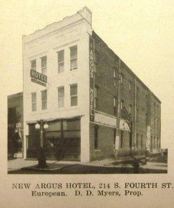 Argus Hotel, 1912 (Springfield: The Capital of the State of Illinois, courtesy Sangamon Valley Colllection)