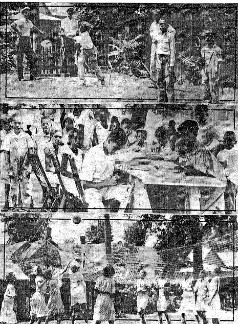 Activities -- horseshoes, woodworking and volleyball -- at the Douglass Center in June 1932 (Courtesy State Journal-Register; odd crop marks are in original)