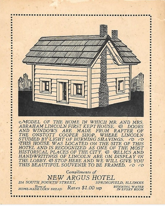 Handbill printed by the Argus Hotel, circa 1930, showing the cottage where Abraham, Mary and Robert Lincoln lived for about eight months in 1843-44. (Sangamon County Historical Society)