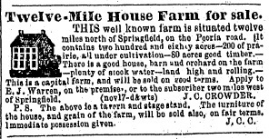 A for-sale ad for the Twelve Mile House in 1851 included a tiny sketch of the inn (SJ-R)