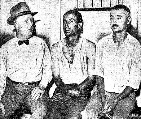 Christian County Sheriff Charles Wieneke shortly after the arrests of kidnapping suspects Emilio Puzzuoli, center, and James Gammaitoni, right (Courtesy State Journal-Register)