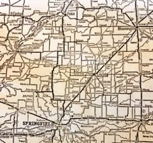 Detail from Illinois' 1927 road map shows the route of the highway from Bloomington to Springfield. (SCHS)