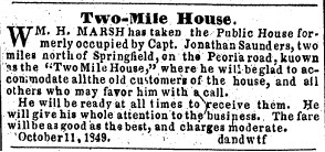 Newspaper advertisement, 1849 (courtesy State Journal-Register)