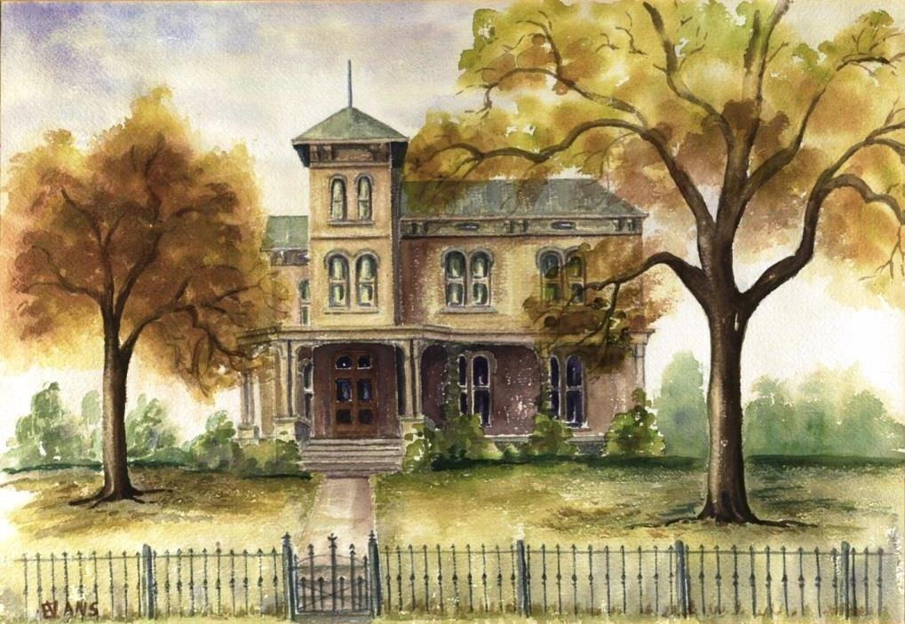 Watercolor of the former King's Daughters Home when it was still the property of the Post family. Painted from a photo in 1973 by King's Daughter member Vaudeth Evans (courtesy King's Daughters Organization)